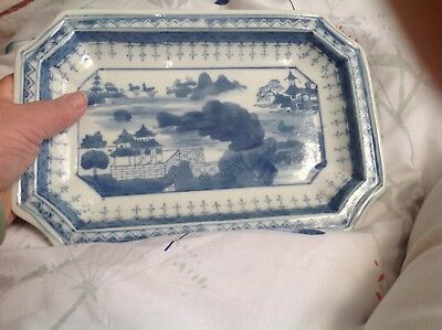 Chinese Dish Plate Blue And White Marked On Back