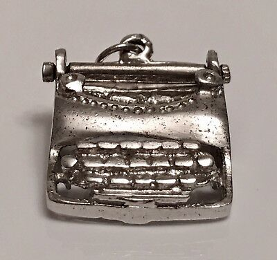 Vintage Sterling Silver Antique Typewriter Secretary Roller Moves Pendant Charm