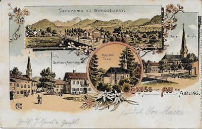 Gruss aus Au bei Aibling Gasthaus Andrelang Litho 1898 Moch&Stern Felle