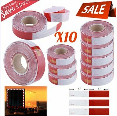 """10X 2""""x164' Red White Approved DOT-C2 Reflective Conspicuity Trailer Tape Safety"""