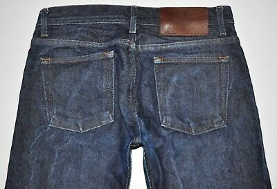 Naked & Famous Men's Sz 32 X 33 3/4 Long Weird Guy Dark Blue SELVAGE Denim Jeans