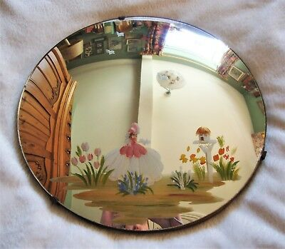 Vintage Art Deco Round Hand Painted Crinoline Lady Southern Belle Wall Mirror