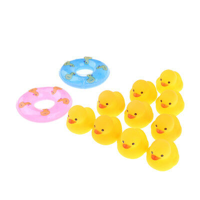 10x Bath Time Tub Toy Squeeze Cartoon Duck with Swim Rings for Kids Toddler