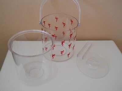 Flock of Pink Flamingos Clear Acrylic Lucite Ice Bucket, Liner, Lid and Tongs