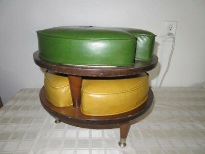 Lot of 2 Mid Century Green & Gold Vinyl Stacking Ottomans Footstools RETRO COOL