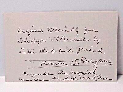 Thornton W. Burgess Signed And Inscribed Note Card 1927 Peter Rabbit