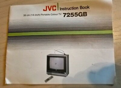 JVC 7255GB 14 Inch Portable Colour TV Television Instruction Guide Book Manual