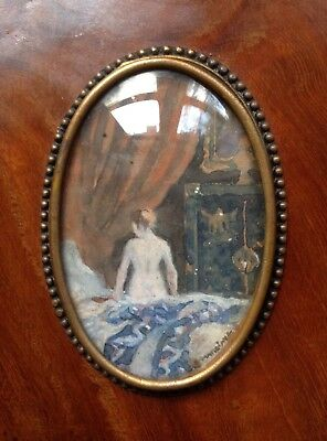 Fine French Impressionist Portrait Miniature Painting Nude Girl Lady In Boudoir