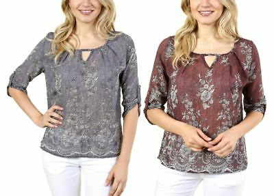 Fashion House La Women's 3/4 Floral Top With Round Neck Collar