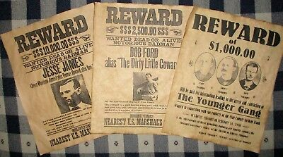 JESSE JAMES The Younger Gang & Bob Ford Old West Wanted Posters 8.5 X 11