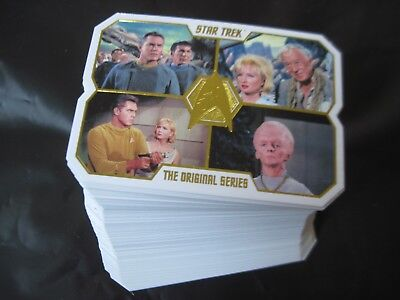 STAR TREK 50th ANNIVERSARY Near SET 79 of 80 DieCut Cards TOS Gold Embossed 2016
