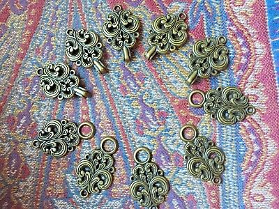 5 Scandinavian Nordic Metal Hook & Eye Clasps Frog Button BRASS Colored Sweater