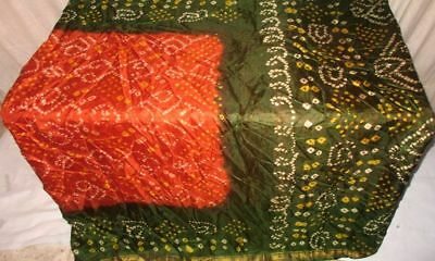 Orange Green Pure Silk Antique Sari Saree SALE Fabric Exotic Comfort Shop #9EHLW