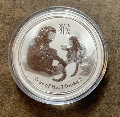 2016 Australia Year of Monkey 1 Troy Oz 999 Fine Silver Dollar Coin - No Reserve