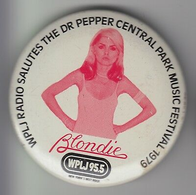 BLONDIE WPLJ New York Central Park Rare Vintage 1979 PINBACK BUTTON/BADGE/PIN