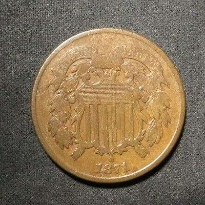 1871 Two Cent 2¢ Coin- Fine