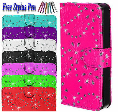 Bling Glittery Leather Side Open Flip Book Wallet Case Cover For Apple iPhone 5S