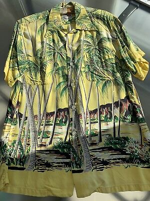 1940's Duke Kahanamoku Yellow Rayon Iconic Print Hawaiian Shirt. Large.