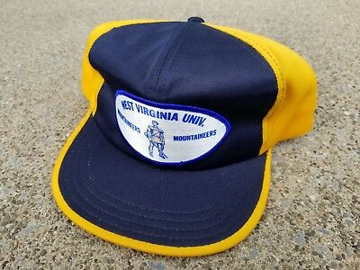 Vtg. West Virginia Univ. Mountaineers Snapback Hat/Cap!! **Patch** Made in USA!!