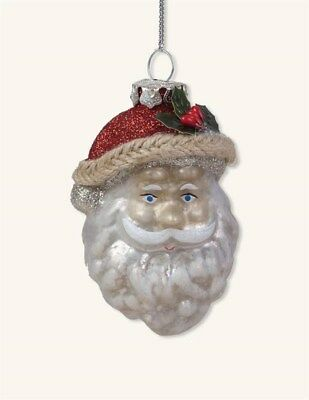 Victorian Trading Co Mercury Glass Santa Snowy Beard Christmas Ornament