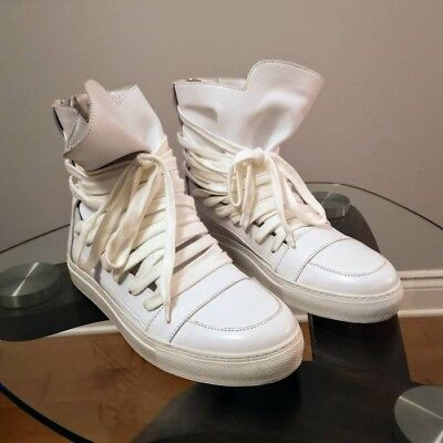 b48488c043 Kris Van Assche White Leather High Top Sneakers Men Shoes Size 10.5 Us 43 Eu