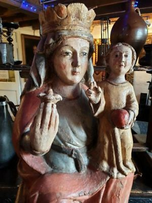 Large Late 15th Century Antique Carved Wood Carving The Madonna & Child