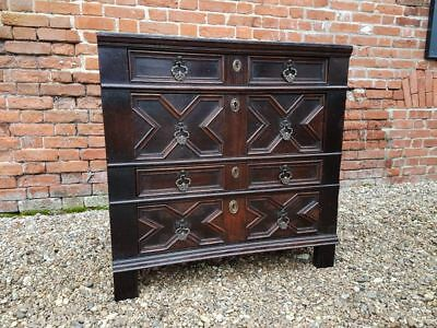 Small 17thC Charles II Period English Antique Oak Geometric Chest of Drawers
