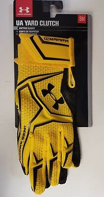 New Under Armour Men's UA Yard Clutch Fit Batting Gloves Gold/Black Small