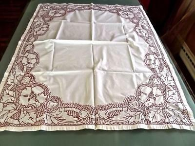 Antique Victorian Art Nouveau 33x44 Tablecloth Redwork Hand Embroidered Poppies
