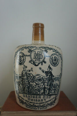 Early Large Greybeard Heather Dew Scotch Whisky Jug 1800s long neck Port Dundas