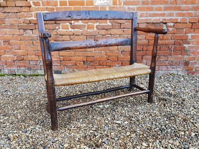 Late 18th Century Child's Antique Fruitwood Seat Settle Bench Couch
