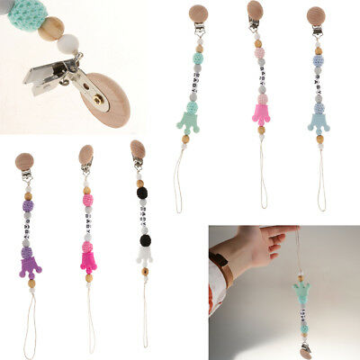 MagiDeal Baby Pacifier Chain Clip Holder Wooden Soother Feeding Teething Chew
