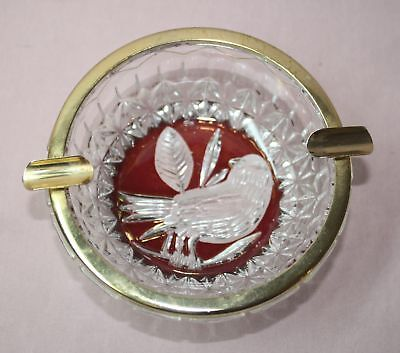 Collectible Hofbauer  Byrde  Flash  Ruby Crystal Glass  Bird  Ashtray