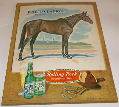 Vintage Rolling Rock Beer Kentucky Derby Horse Sign  Proud Clarion 1967 Winner