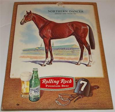 Vintage Rolling Rock Beer Kentucky Derby Horse Sign  Northern Dancer 1964 Winner