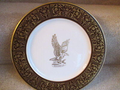 Vintage Shenango Advertising Shangri-La Hotel Restaurant Dinner Plate Gold Eagle