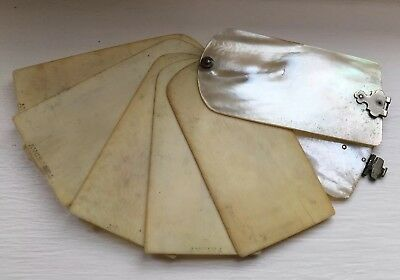 Victorian Mother Of Pearl Aide Memoire Notebook Hinged Cover Antique