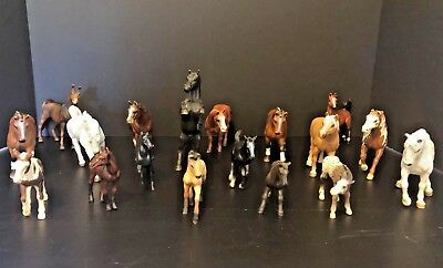 Schleich Lot Of 18 Horses And Poneys Farm Animals Figures Toys