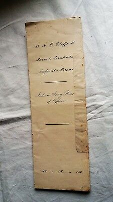 WW1 2nd LIEUTENANT COMMISSION DOCUMENT. W.H.R. CLIFFORD. INDIAN ARMY