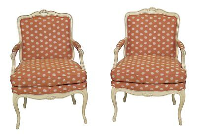46656EC: Pair French Louis XVI Style Upholstered Arm Chairs
