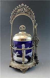 Antique Victorian SilverPlate Pickle Castor w/ Mary Gregory Cobalt Glass Insert