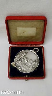 1902 Rare Art Nouveau Solid Sterling Silver Swimming Medal Medallion By J Fray