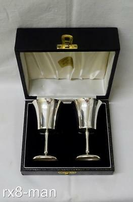 1968 VINTAGE PAIR OF SOLID STERLING SILVER GOBLETS CHALICES CASED 147g/4.72ozs
