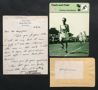 1939 - Sydney Wooderson - a signed, hand-written letter + a separate signature