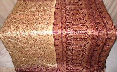 Cream Coffee Pure Silk 4 yd Vintage Antique Sari Saree student Low Rate #9EIN4