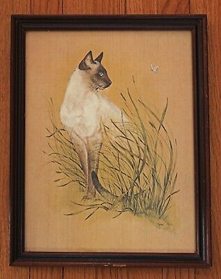 """Siamese Cat """"Her Highness"""" framed art print by Julie with grass and butterfly"""