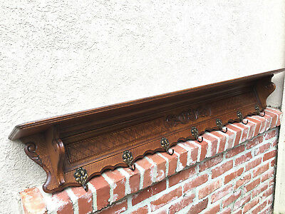 Antique French Country Carved Tiger Oak Wall Shelf Coat Hat Plate Rack BRASS