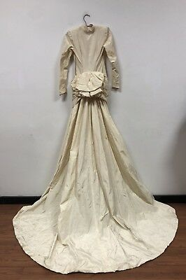 Vintage 1940's Cream Long Sleeved Wedding Gown, Long Train, Upcycle!