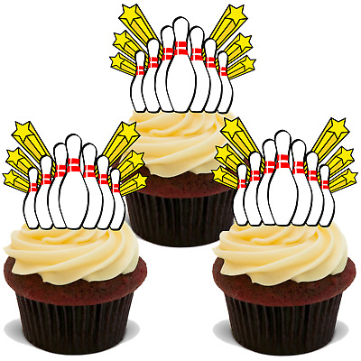 30x 10 PIN BOWLING STAND UP EDIBLE RICE CARD FLAT TEN TENPIN Cup Cake Toppers D1