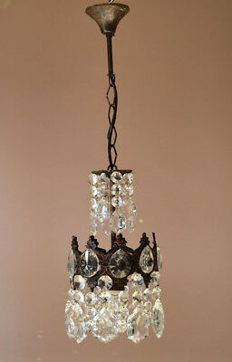 Antique Mini French Crystal Chandelier,Vintage Bronze Ceiling Lighting,Home Lamp